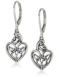 Sterling Silver Oxidized Celtic Mother and Child Heart Lever Back Earrings
