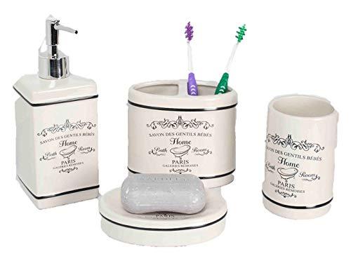 Elaine Karen Deluxe Paris Design Ceramic Bathroom Vanity Accessory Set, Soap Dispenser Pump, Toothbrush Holder, Tumbler, Soap Dish - 4 Piece - Cream