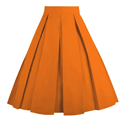 Dresstore Vintage Pleated Skirt Floral A-line Printed Midi Skirts with Pockets Orange-XL