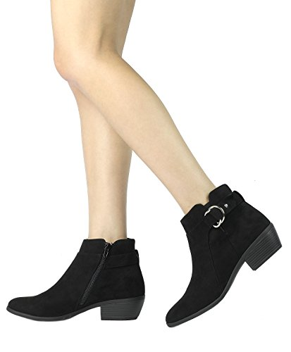 03 Zipper TOETOS black Women's Ankle Side Cowboy Heel Suede Block Booties xTZXw4Tq
