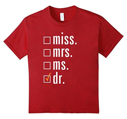 Kids Miss Mrs Ms Dr - Funny Doctor, Medical School, Nurse Tshirt 12 Cranberry