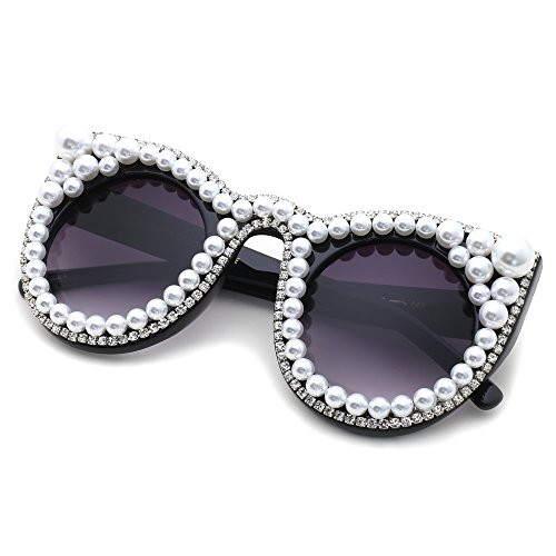 Slocyclub Women Handmade Overstate Cat Eye Sunglasses with - Glasses Pearl
