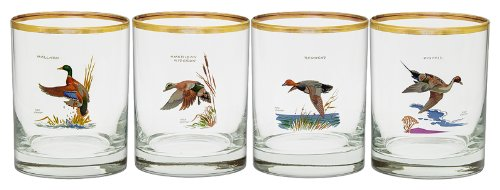 Culver's Ned Smith Waterfowl 14-Ounce Double Old Fashion Glass, Set of 4