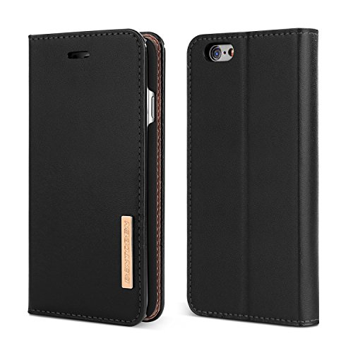 "Price comparison product image iPhone 6S Case, iPhone 6 Case, BENTOBEN Genuine Leather Folio Flip Wallet Case Magnetic Closure Stand 3 Credit Card Slots Cash Compartment Business Men Protective Cover for iPhone 6 / 6S 4.7"", Black"