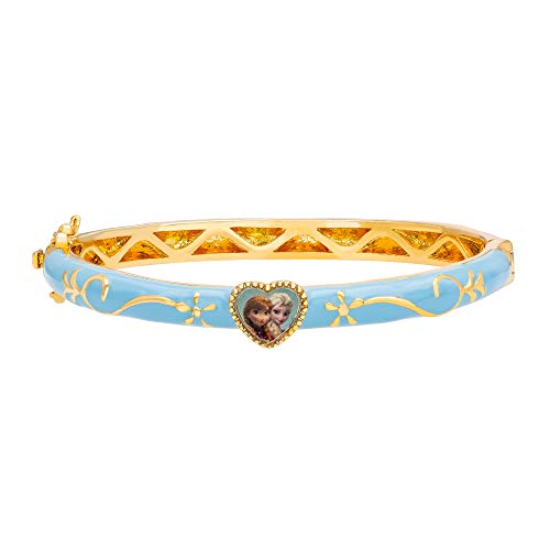 "Disney Frozen Jewelry, Sisters Elsa & Anna ""Let It Go"" Blue and Gold Plated Heart Bangle Bracelet -"