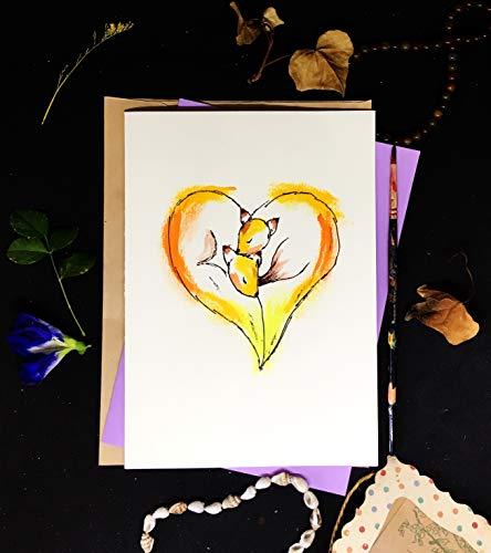 Love Cards, Lovely Fox Couple & Heart,