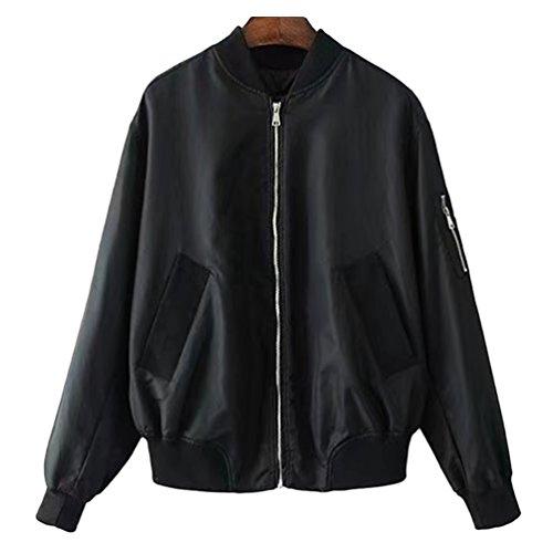 Jitong Biker Negro Cremallera Manga con Jacket Outwear Cazadora Larga Chaqueta Mujeres Bomber 8Pqr8f