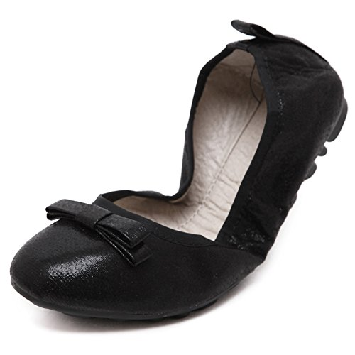 KONHILL Women's Foldable Loafer Ballet Flats Slip On Driving Dress Boat Shoes, Black, (How To Wear Ballet Slippers)
