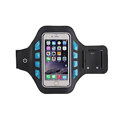 étanche fonctionnant LED Clignotant Brassard Sangle de poignet pour sports de plein air de sécurité Nuit d'activité pour téléphones 12,7cm–Noir/Bleu