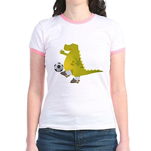 Truly Teague Jr. Ringer T-Shirt Dinosaur Playing Soccer - Pink/Salmon, XL