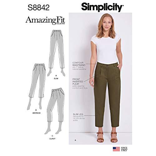 Simplicity US8842U5 Pattern S8842 Misses'/ Petite Amazing Fit Pants, U5 (16-18-20-22-24)