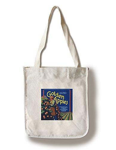 Lantern Press Leesburg, Florida - Golden Apples Brand Citrus Label (100% Cotton Tote Bag - Reusable)
