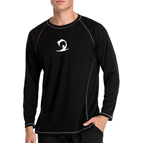 V FOR CITY Surfing Swim Shirts Mens Rash Guard Long Sleeve Swimsuit Top Solid Black L
