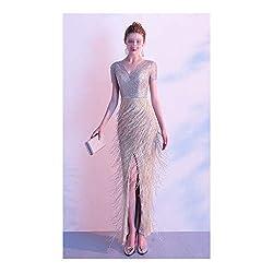 Double V-Neck Beaded Sequins Girdle Prom Dress