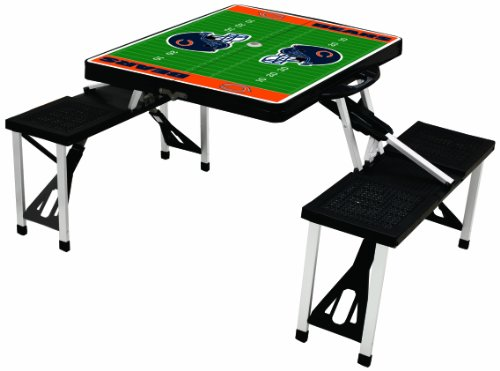 NFL Chicago Bears Football Field Design Portable Folding Table/Seats, Black