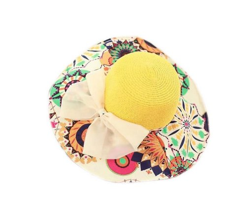 2014 Spring New Arrival Bow Knot Flopy Straw Hat Beach Hat for Women, Yellow