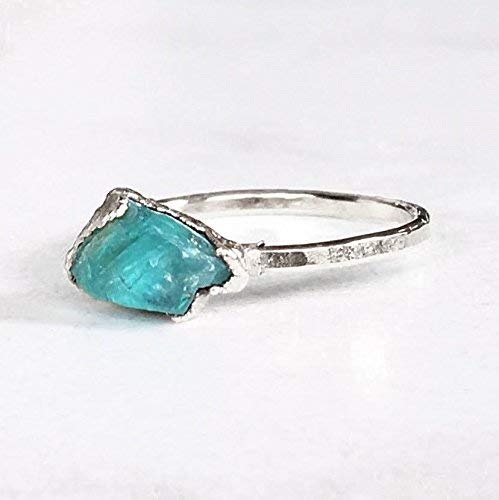 SIZE 5 Raw Crystal Ring, Sterling Silver, Boho Jewelry, Rough Apatite