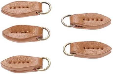 ZJY 5pcs de Cuero con Cremallera Sliders Tirar Ropa Anillo o Hebillas de los Zapatos del Bolso Tirador de la Cremallera Sliders Repuesto for Coser Sujetadores Manualidades (Color : D)