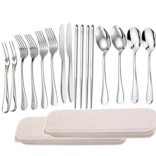 14pcs Flatware Set, Spoon Knife Fork Chopsticks with a Durable Case Adults and Kids, Stainless Steel Camping Cutlery, Potable Mirror Polished Travel Silverware Travel Utensils Set …