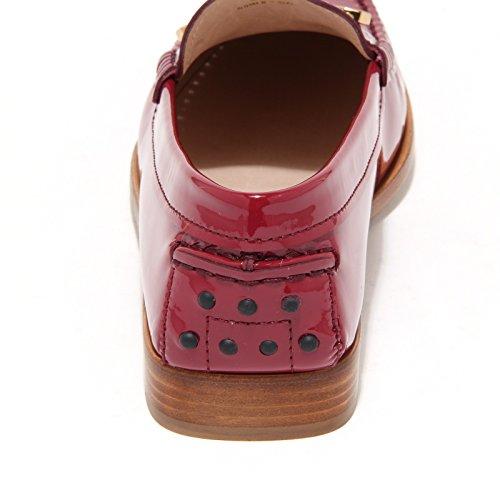Tod's Donna Mascherina Scarpe Spilla Shoes Magenta Scuro Women Loafers 7868l Mocassini Cuoio 65IEEx
