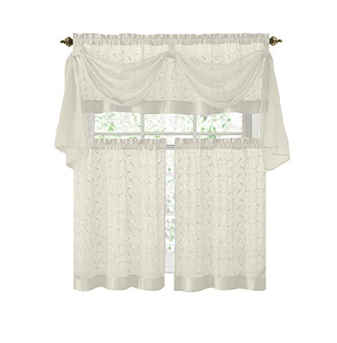 Victoria Classics Linen Leaf 4 Piece Kitchen Curtain Set (Beige)