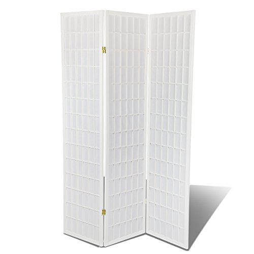Shutter 3 Door Panel Room - Magshion Oriental Room Divider Hardood Shoji Screen (White Double Cross, 3-panel)