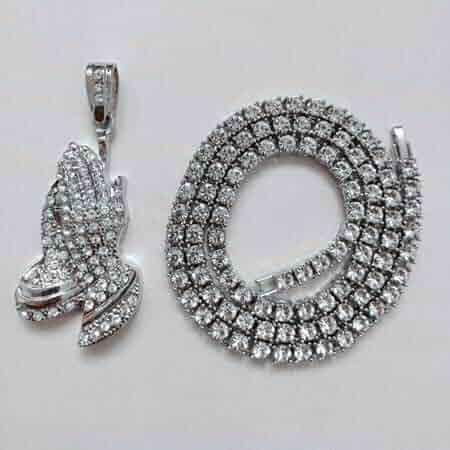 KaitoKyd1412 Pendant Necklace Hip Hop Gifts Golden Bling 1 Row Rhinestone Stone Jesus Necklaces Pendants Women Men Praying Buddha Hands