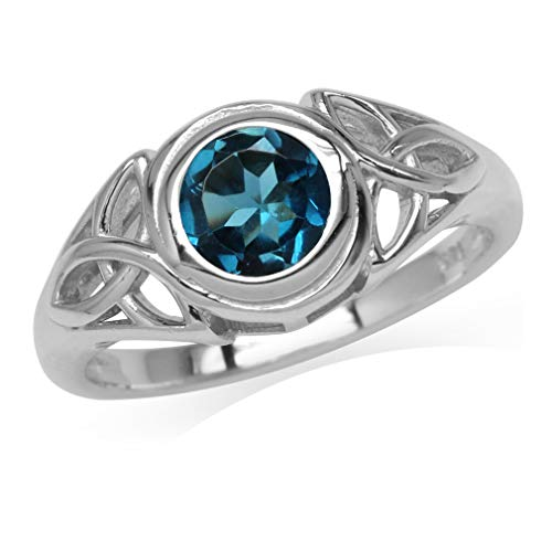 1.05ct. 6MM Genuine Round Shape London Blue Topaz 925 Sterling Silver Triquetra Celtic Knot Ring Size 5