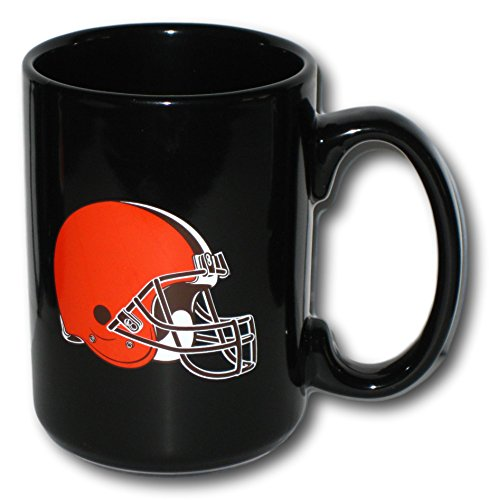(Cleveland Browns 15 oz. Rally Black Ceramic Coffee Mug)