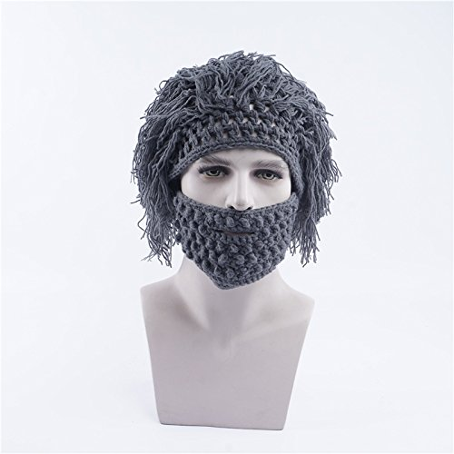 Wispun Wool wig cap beard mask Knit Bearded Hats, Handmade Wig Ski Mask for men and women (Gray) (Halloween Parties Nice France)