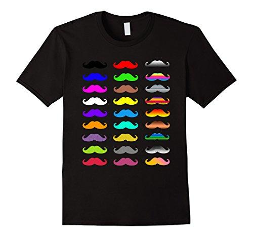 Mens Colorful Mustache Tshirt Women Men Kids Large Black