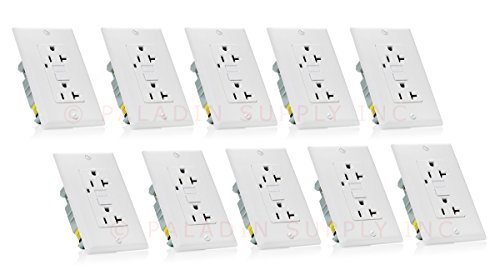 Paladin 20A GFCI GFI Receptacle Outlet w/ Wallplate & LED Indicator - UL Certified, White, 20 Amp 125v (10 Pack)