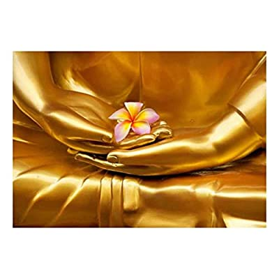 Copper Statue of Buddha Holding a Pink Plumeria Flower - Wall Mural, Removable Sticker, Home Decor - 66x96 inches