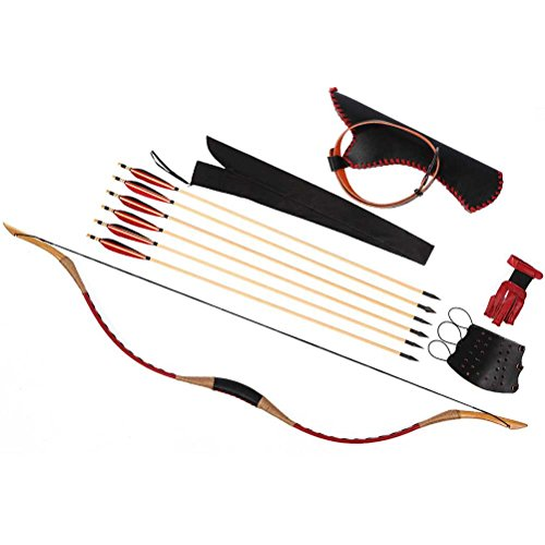 PG1ARCHERY Handmade Longbow Red Leather Recurve Bow Traditional Horsebow for Hunting with Wooden Arrows & Hip Quiver & Arm Guard & Finger Protector 110lbs