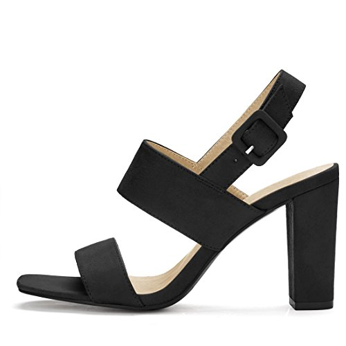 Allegra K Womens Slingback Block Heel Sandals Black 6qS4xi4