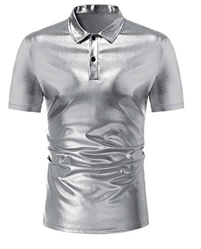 Bravepe Men's Pure Color Short-Sleeve Lapel Fashion Bright Surface Polo Shirt Silver L