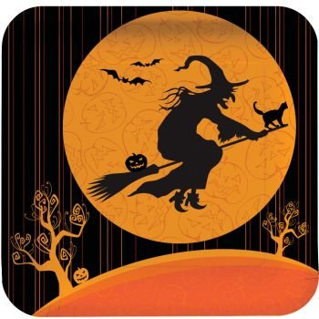 witchs crossing halloween 9 inch paper plates 8 per pack