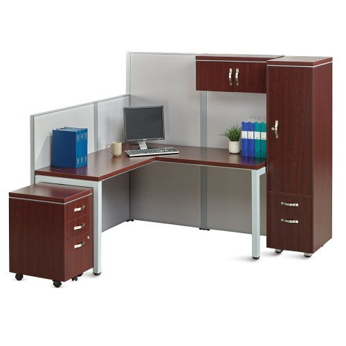 Instant Office LDesk Station with Wardrobe Mahogany Laminate/Gray Fabric/Silver Frame and Legs - Mahogany Office Wardrobe