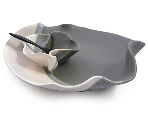 (Contemporary Twist Chip and Dip Tray Dish in Grey White, Handmade Pottery)
