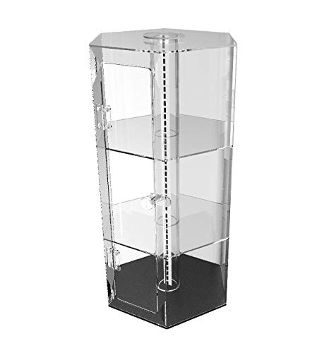 FixtureDisplays Clear Plexiglass Acrylic Spinning Cabinet Display Case for Jewewlry, Cell Phone, Valuable - Acrylic Cabinet