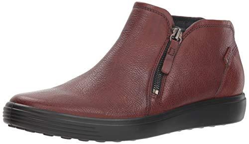 ECCO Women's Women's Soft 7 Low Zip Bootie Sneaker, Cognac, 37 M EU (6-6.5 US)