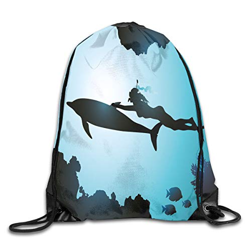 (Drawstring Backpacks Bags,Scuba Diver Girl Swimming With Dolphin Silhouette In Sea Fish Reefs Image,5 Liter Capacity,Adjustable)