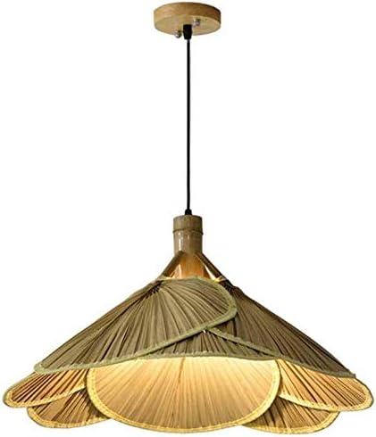 Ventilador Luces de bambú Lámpara de araña de ratán Lámpara ...