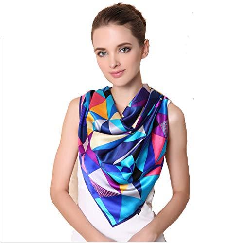LHFJ Foulard Femme Automne   Printemps Soie Carré Châle 110   110cm  (Couleur   Bleu, Taille   110   110cm)  Amazon.fr  Vêtements et accessoires 47054a83e1b