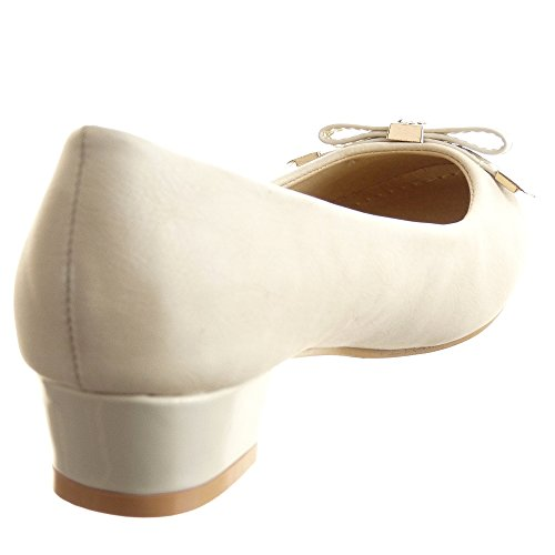 Sopily - Scarpe da Moda scarpe decollete decollete alla caviglia donna lucide nodo Tacco a blocco 3 CM - Beige