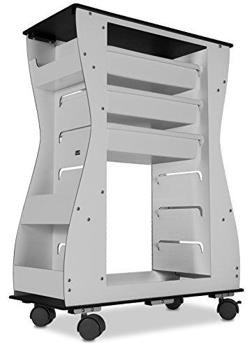 - TrippNT 52948 Aluminum Polyethylene Composite Hourglass Salon Cart Trolley, 2-Sided, 24