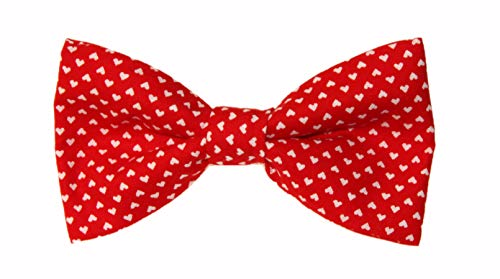 - Men's Red With Tiny White Hearts Clip On Cotton Novelty Bow Tie