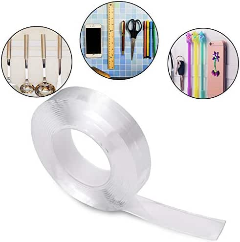 Double Sided Gel Tape Clear Washable Grip Tape Adhesive Gel Tape Roll Anti-Slip Traceless Tape for Home Supplies (3 m/ 9.84 ft Long, 2 mm Thick)