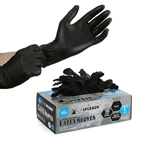 Medpride Medical Examination Latex Gloves  Black, 5 mil Thick, Large Case of 1000  Powder-Free, Non-Sterile, Heavy Duty Exam Gloves  Professional Grade for Tattoo Artists, Caterers & More by MED PRIDE (Image #3)