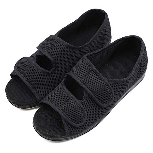 Woman Diabetic Shoes, Extra Wide Width Open Toe Sandals, Adjustable Arthritis Edema Slippers for Elderly Women Black